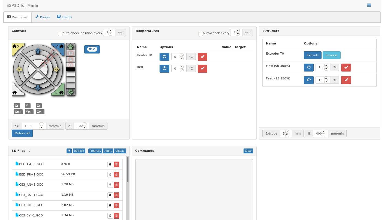 ESP3D's web interface.