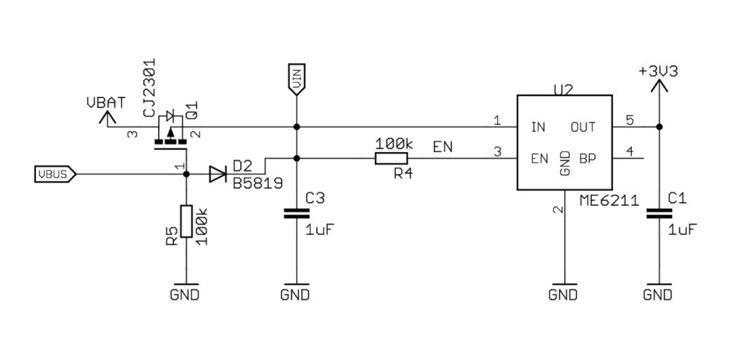 Power supplying circuit on the Lolin D32Pro board.